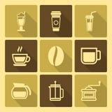 Kaffee trinkt Ikonen mit langem Schatten Lizenzfreie Stockfotografie