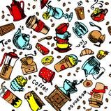 Kaffee trinkt nahtlose Vektorillustration des Geschirrs und der Gläser Lizenzfreies Stockbild