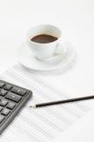 Kaffee und Abbildungen Lizenzfreies Stockfoto