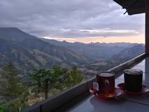 Kaffee und Berg Stockfotografie