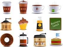 Kaffee- und Bistroikonen Lizenzfreies Stockbild