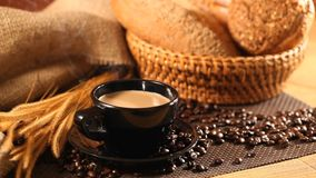 Kaffee und Brot stock footage