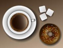 Kaffee und Donut von oben Lizenzfreies Stockfoto