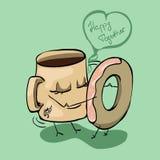 Kaffee und ein Donut Lizenzfreie Stockbilder