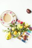 Kaffee und Früchte Stockfoto