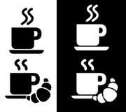 Kaffee und Frühstück Logo Icons Lizenzfreie Stockfotos