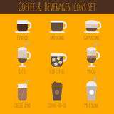 Kaffee- und Getränkeikonen eingestellt Lizenzfreie Stockfotografie