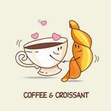 Kaffee und Hörnchen, Liebe für immer Komisch, Karikatur Vektor illus stock abbildung