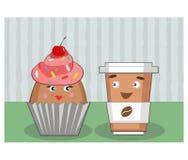 Kaffee und Kuchen mit den Augen Lizenzfreie Stockfotografie