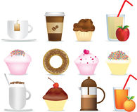 Kaffee- und Kuchenabbildungset Stockfoto