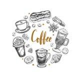 Kaffee und Nachtische Stockfoto