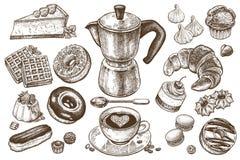 Kaffee und Nachtische eingestellt Lizenzfreie Stockfotos