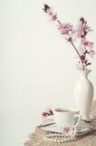 Kaffee und rosa Kirschblüten stockfotos