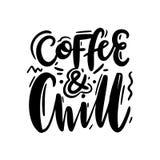 Kaffee und Schauer Hand gezeichnete Vektorbeschriftung Inspirierend Zitat stock abbildung