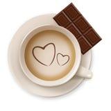 Kaffee und Schokolade lokalisiert Stockfotos