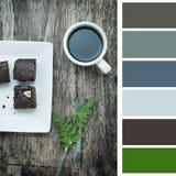 Kaffee und Schokoladenkuchen, Farbe-pallette Stockbild