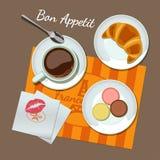 Kaffee und Snäcke eingestellt, Draufsicht Lizenzfreie Stockbilder