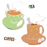 Kaffee-und Tee-Gekritzel-Hand gezeichnete Schalen, Vektor-Illustration Stockfoto