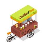 Kaffee-und Tee-Laufkatze in der isometrischen Projektion Stockfotos