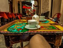 Kaffee in Valletta stockbild
