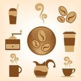 Kaffee-Vektorikonensammlung Lizenzfreies Stockfoto