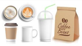 Kaffee-Verpackungs-Schablonen-Design-Vektor Weiße Kaffeetasse Keramische und Papier-, Plastikschale Spitze, Seitenansicht Leere F stock abbildung
