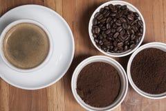 Kaffee, verschiedene Arten Draufsicht Lizenzfreie Stockbilder