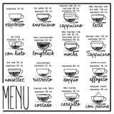Kaffee von Hand gezeichnet mit schwarzer Tinte Stockfotografie