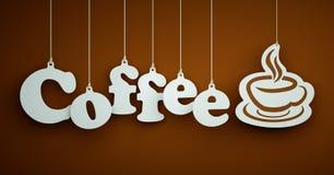 Kaffee - weiße Buchstaben, die an den Seilen hängen Lizenzfreies Stockbild