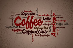 Kaffee wordcloud Lizenzfreies Stockfoto