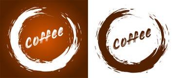 Kaffee - Wort auf einem Hintergrund des Kaffeeflecks stock abbildung