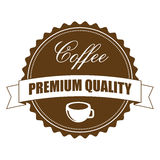 Kaffee-Zeichen-Aufkleber, Vektor-Illustration Stockfoto