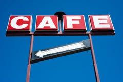Kaffee-Zeichen mit Pfeil Lizenzfreie Stockbilder