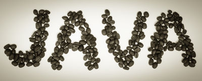 Kaffee zeit- JAVA Beans Lizenzfreies Stockfoto