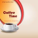 Kaffee-Zeitdesignhintergrund mit Tasse Kaffee Stockfoto
