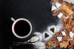 Kaffee, Zucker, Karamell Stockbild