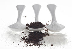 Kaffee-Zucker und Creme Lizenzfreie Stockbilder