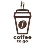 Kaffee zum Mitnehmen, Aufkleber im Fenster, Vektorlogo, Netzikone, Knopf, Aufkleber, Zeichen, Schablone, Bilddagramm Flaches line Stockbild