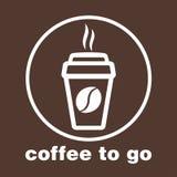 Kaffee zum Mitnehmen, Aufkleber im Fenster, Vektorlogo, Netzikone, Knopf, Aufkleber, Zeichen, Schablone, Bilddagramm Flaches line Lizenzfreie Stockfotos