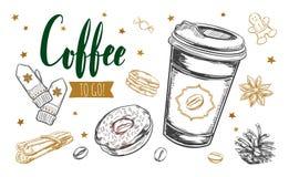 Kaffee zum Mitnehmen-Konzept Stockfotos