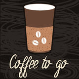 Kaffee zum Mitnehmen-Logo, Aufkleber, Zeichen, beschriftend Stockbild