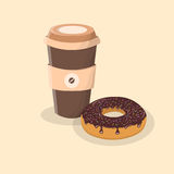 Kaffee zum Mitnehmen und Donut mit Schokoladenzuckerglasur und besprüht Stockbilder