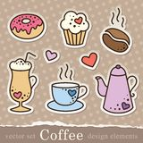 Kaffeeaufkleber Lizenzfreie Stockbilder