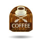 Kaffeeaufkleber an auf hölzerner Beschaffenheit vektor abbildung