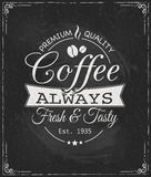 Kaffeeaufkleber auf Tafel Lizenzfreie Stockfotos
