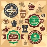 Kaffeeaufkleber und -ikonen Lizenzfreies Stockbild