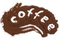 Kaffeeaufschrift-Weißhintergrund Lizenzfreie Stockfotos