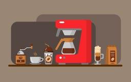 Kaffeeausrüstungsfahne Auch im corel abgehobenen Betrag Lizenzfreie Stockbilder