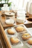 Kaffeebestandteil und -bäckerei Stockfoto