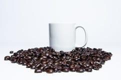 Kaffeebohne und Becher auf weißem Hintergrund Stockfotografie
